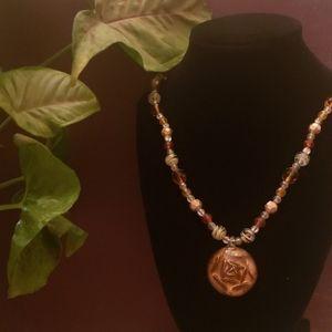 Amber Tone Pendant Bead Necklace